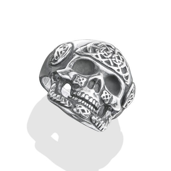 Hand Carved Silver Celtic Skull Ring