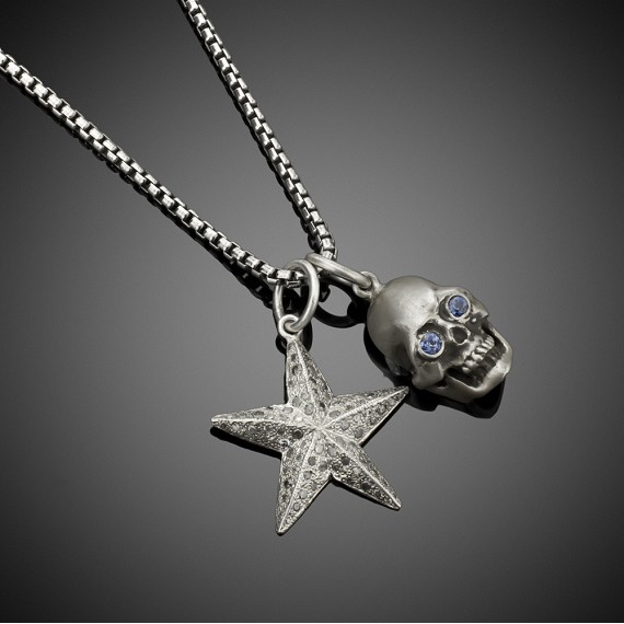 Sapphire Skull & Diamond Star Pendents on Silver Box Chain Necklace