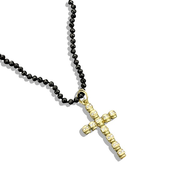 Gold Skull Cross On Faceted Bead Necklace