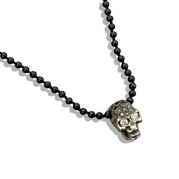 Silver Skull With Black White Diamonds On Onyx Bead Necklace