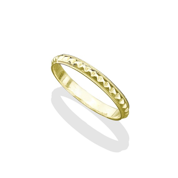 18K Medium Gold Infinity Pyramid Band