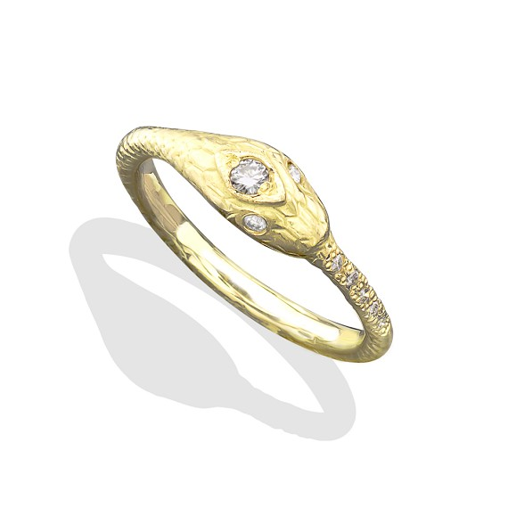 18K Gold With White Diamonds Snake Ring