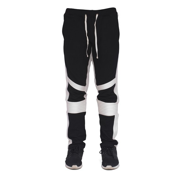 Two Tone Ribbed Moto Style Men's Pants