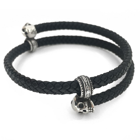 Leather & Silver Skull Men's Wrap Cuff