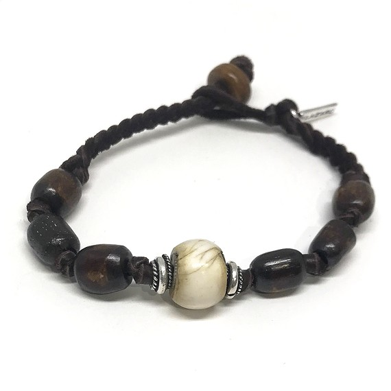 Leather, Silver & Bone Beaded Bracelet