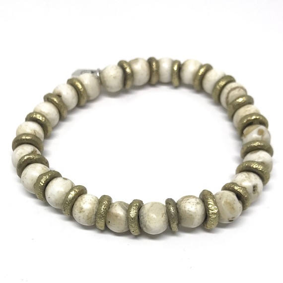 Limited Edition Conch & Hammered Brass Men's Beaded Bracelet