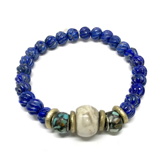 Limited Edition Conch, Lapis & Turquoise Men's Beaded Bracelet