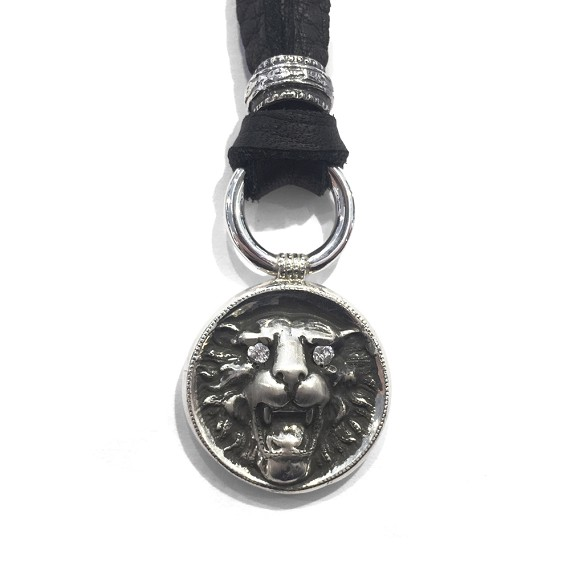 Limited edition diamond silver carved lion mens pendant necklace aloadofball Image collections