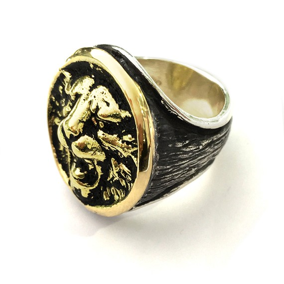 Limited Edition Silver & 18KT Gold Bezel Lion Ring