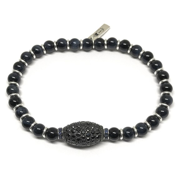 Limited Edition Spinel, Sapphire & Tigers Eye Beaded Men's Bracelet