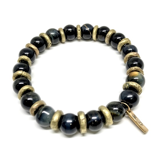 Limited Edition Tigers Eye & Brass Men's Beaded Bracelet