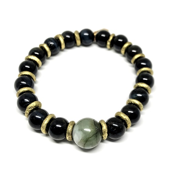 Limited Edition Tigers Eye, Jade & Brass Men's Beaded Bracelet