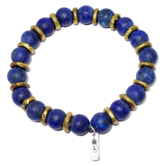 Matte Lapis & Bronze Men's Beaded Bracelet