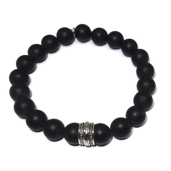 Men's 10mm Onyx & Sterling Silver Beaded Bracelet