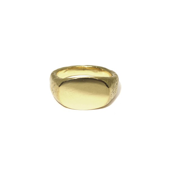 Men's Gold Hammered Signet Ring