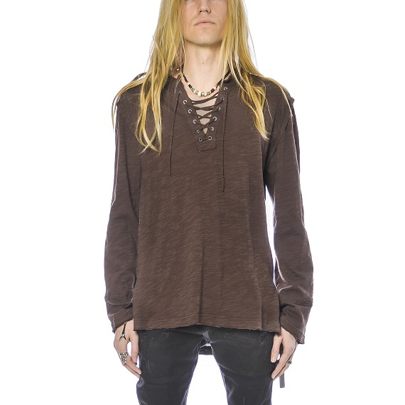 Morrison Cotton Lace Up Long-Sleeve Shirt