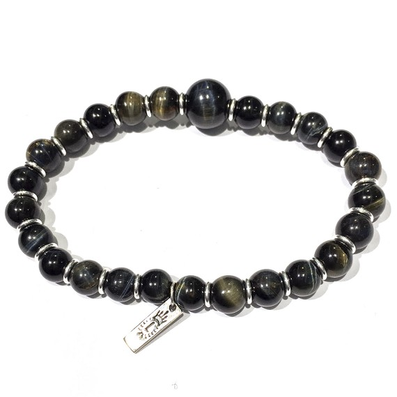 Multicolor Tigers Eye & Silver Men's Bracelet