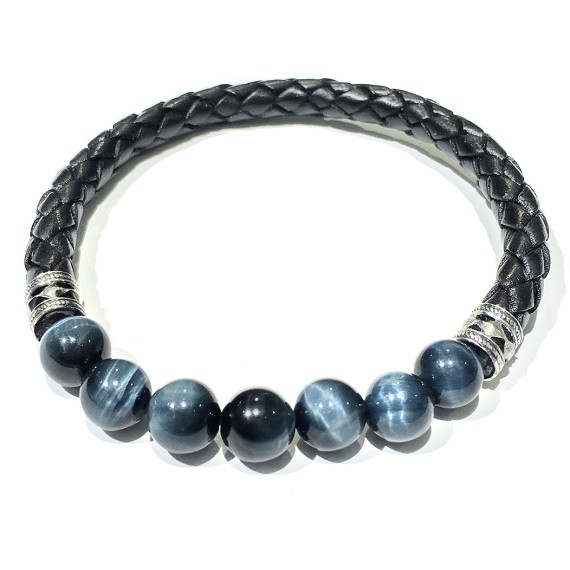 Natural Stone & Woven Leather Men's Bracelet