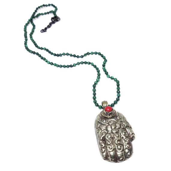 Nickel ceramic bead hamsa hand pendant on malachite necklace aloadofball Choice Image