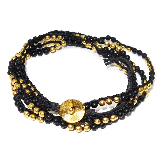 Onyx & Brass Wrap Bracelet Necklace