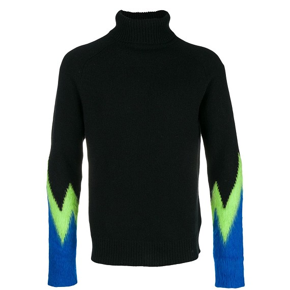 Paura Green & Blue Sleeve Black Turtle Neck Pullover