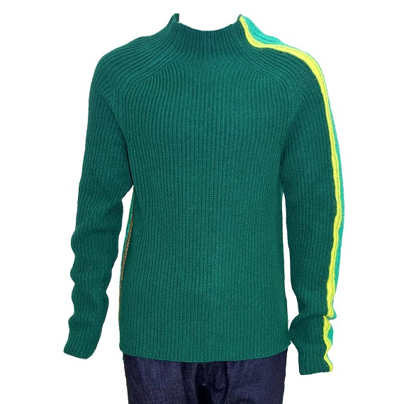 Paura Green High Neck Stripe Sweater