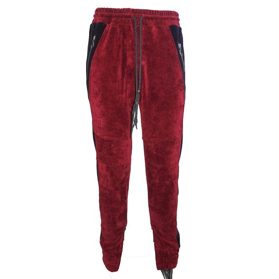 Red & Black Velour KMRii Track Pants