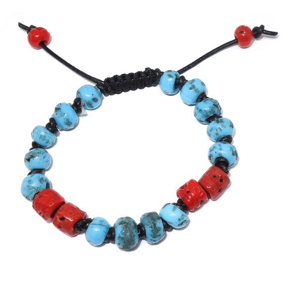 Red & Blue Ceramic Bead Bracelet