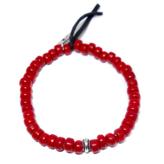 Red Ceramic, Silver, & Leather Beaded Bracelet