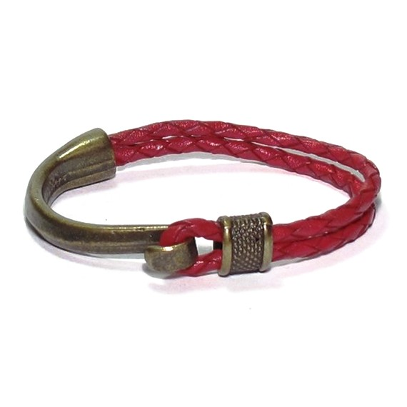 b965cdb53ecb02 Red Leather & Brass Nautical Men's Bracelet - Men's Bracelets | Lazaro SoHo
