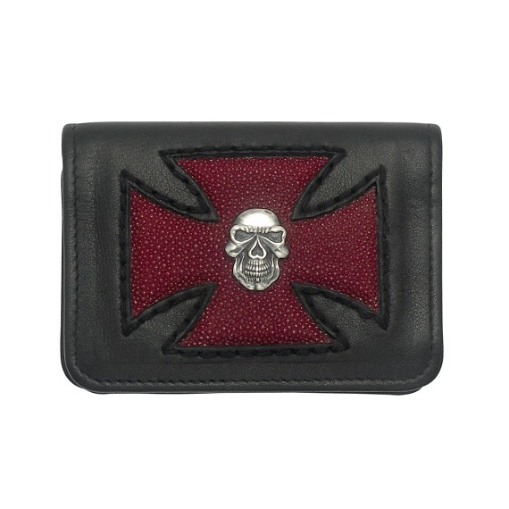 Red Sting Ray Maltese Cross and Silver Skull Credit Card Holder