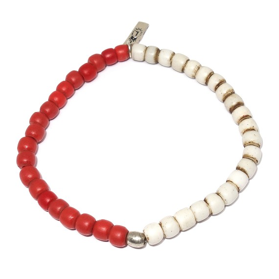Red & White African Trade Beads Bracelet