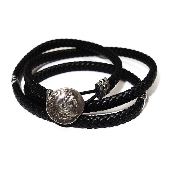 Reproduction Alexander The Great Silver Drachm and Leather Bracelet