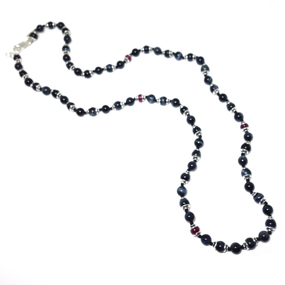 Ruby & Blue Tigers Eye Men's Beaded Necklace