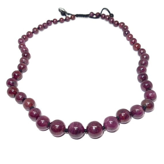 Ruby on Knotted Hemp Necklace