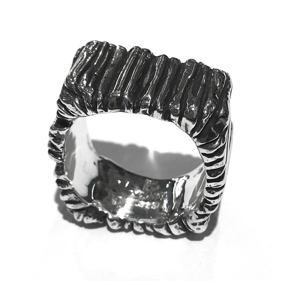 Silver Carved Men's Band