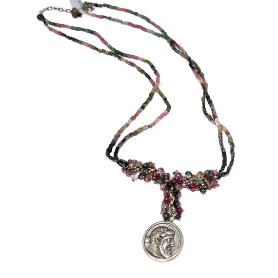 Silver Coin On Tourmaline Necklace