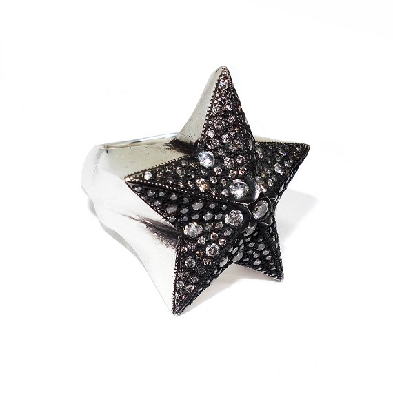 Silver & Diamond Star On Star Ring