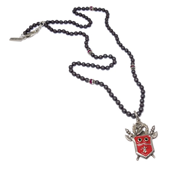 Silver Enamel Crest On Hematite, Silver, & Ruby Necklace
