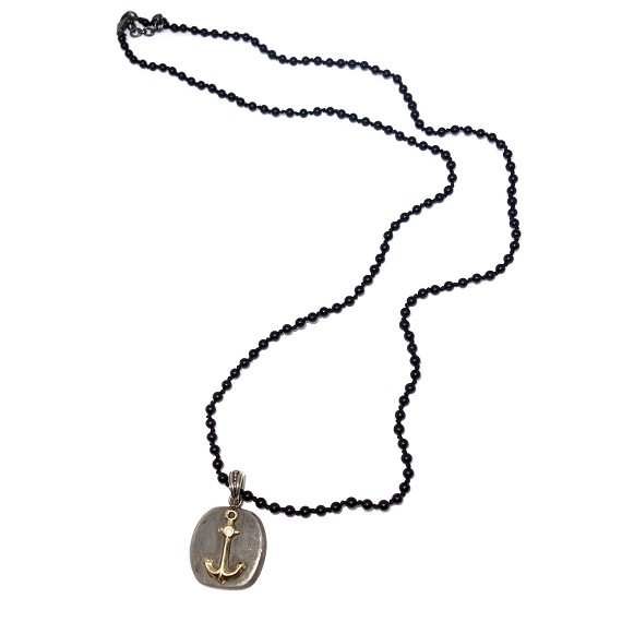 Silver & Gold Anchor Pendant on Onyx Necklace