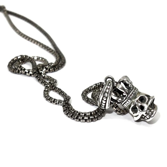 Silver King Skull on Classic Chain Necklace
