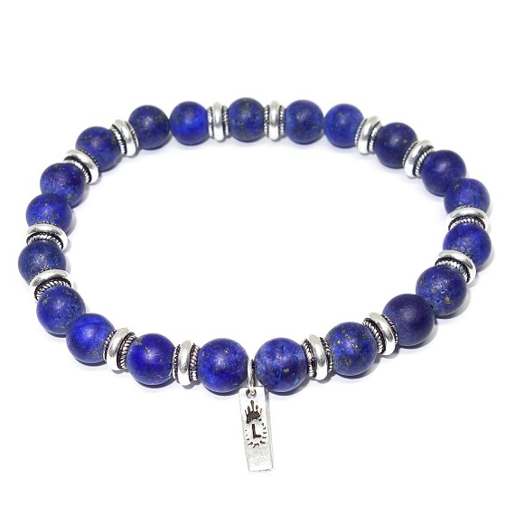 Limited Edition Silver & Matte Lapis Beaded Bracelet