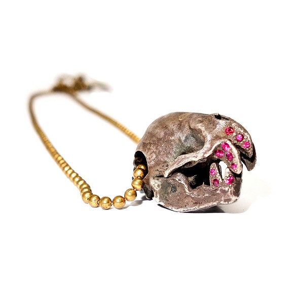 Silver & Ruby Vampire Bat Skull Necklace