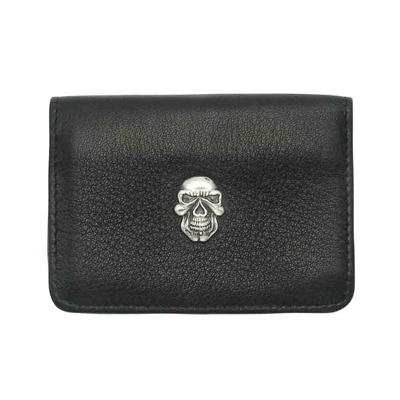 Silver Skull and Black Leather Credit Card Holder