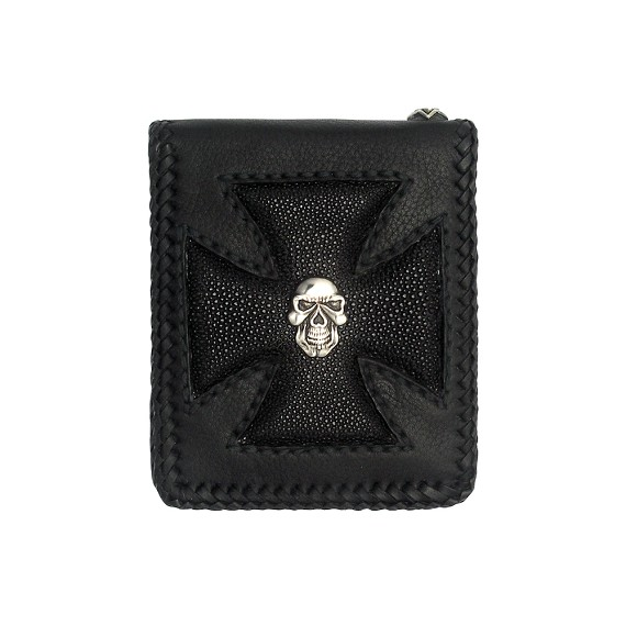 Silver Skull and Black Sting Ray Maltese Cross Men's Wallet
