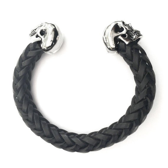 Silver Skull & Woven Leather Men's Cuff Bracelet