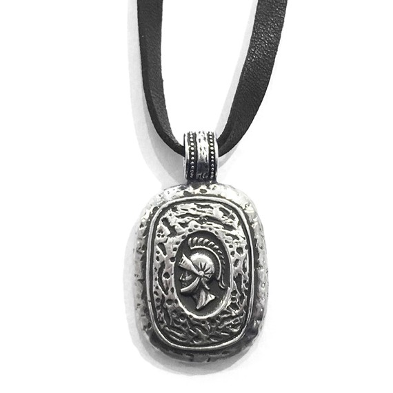 Silver Trojan Soldier Pendant Necklace