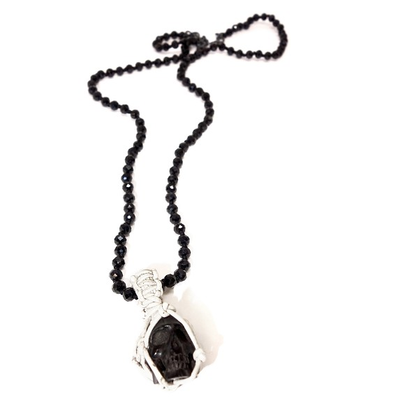 Spinel Bead with Leather Woven Jet Skull Necklace