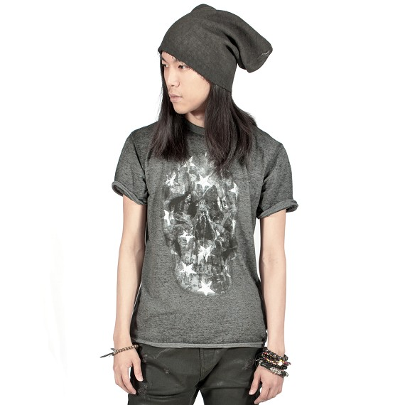 Stars & Skull Grey Burnout Style Men's T-Shirt