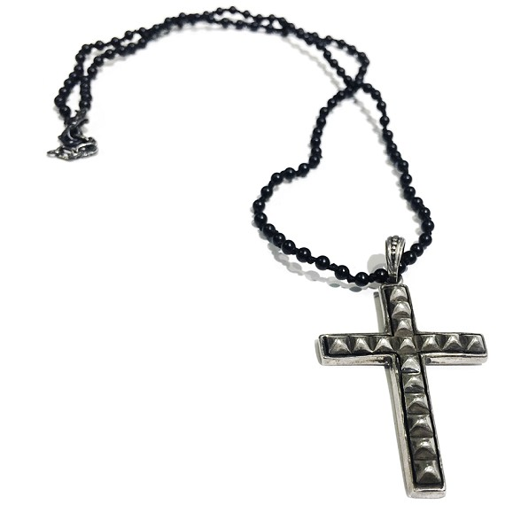 Sterling silver cross pendant oynx mens necklace aloadofball Images